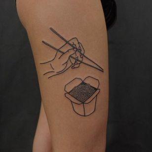 Chinese food tattoo by Victor Zabuga #VictorZabuga #minimalistic #blackwork #conceptual #chinesefood #chopsticks