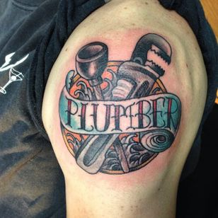 It's no neck tattoo, but it's one way to show pride in your occupation. By Tisha de Boer (via IG -- tisha_tattooing) #tishadeboer #plumbing #plumbingtattoo #plumber #plumbertattoo