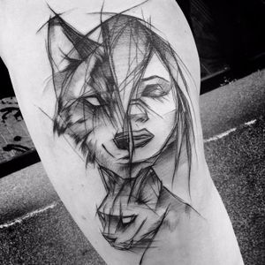 Uma mulher selvagem! #InezJaniak #lobo #mulher #sketch #sketchtattoo #wolf #woman