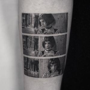 The Professional tattoo by Cold Gray #ColdGray #movietattoos #blackandgrey #realism #realistic #hyperrealism #TheProfessional #portrait #film #filmstills #NataliePortman #movietattoo #actress