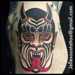 Gruesome demon head tattoo done by Jelle Soos. #JelleSoos #SwanseaTattooCo #traditional #bold #demon #demonhead