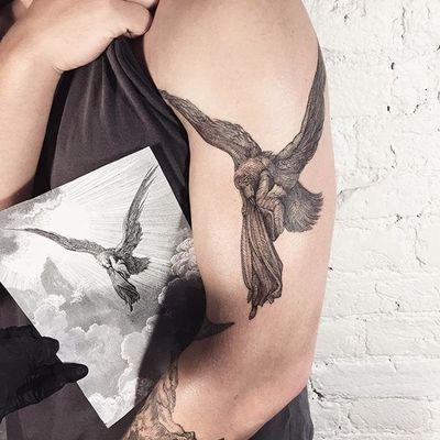 Dante Alighieri and the Raven tattoo by Lesya Kovalchuk. #LesyaKovalchuk #blackwork #mythology #gustavedore #dantealighieri #raven #dantesinferno #book #literature