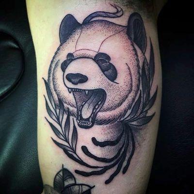 Panda by Miquelangel Fortezagaya (via IG -- miketattooist) #miquelangelfortezagaya #dotwork #panda