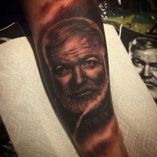 Hemingway portrait by Deanna Smith (via IG -- redjeesus) #DeannaSmith #ernest #ernesttattoo #hemingway #hemingwaytattoo