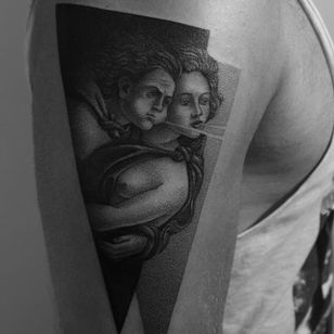 Creative Botticelli inspired tattoo by Dotyk #fineartists #Dotyk #botticelli #painter #painting #fineart #masterpiece #art #museum