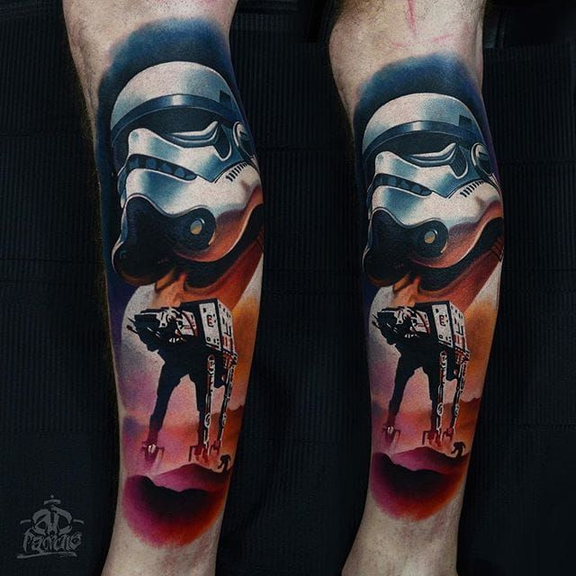 Stormtrooper Tattoo by Alex Pancho #stormtrooper #realism #colorrealism #realistictattoo #abstractrealism #realistictattoos #AlexPancho