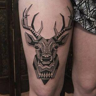 Stag tattoo by Antti Kuurne #AnttiKuurne #ornamental #blackwork #ethnic #pattern #mehndi #stag deer