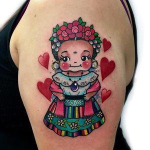 Tattoo by Roberto Euan #RobertoEuan #newtraditional #kewpiedoll #kewpie #fridakahlo #hearts #flowers #roses #pattern #glitter #sparkle #portrait #cute