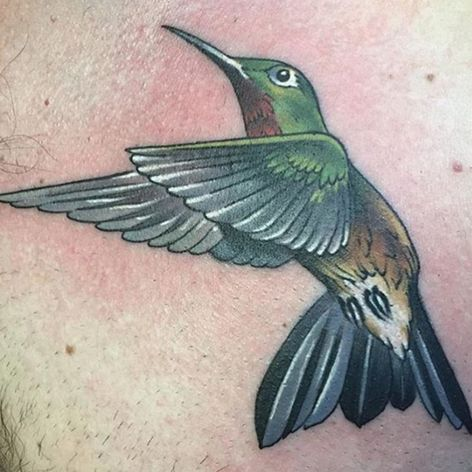 A killer hummingbird by Chad Whitson (IG—chadwhitsontattoo). #ChadWhitson #color #hummingbird #traditional