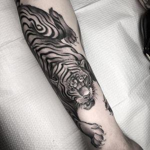 Tiger attack tattoo by Nathan Kostechko #nathankostechko #cattattoos #blackandgrey #Japanese #illustrative #mashup #tiger #junglecat #cat
