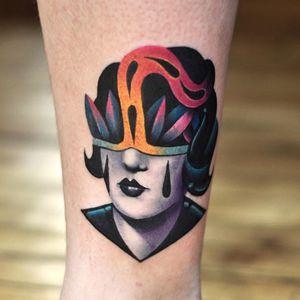 Lady head tattoo by David Peyote #DavidPeyote #ladyheadtattoo #color #blackandgrey #lady #portrait #surreal #weird #crystals #teardrops #mime #lips #newtraditional #tattoooftheday