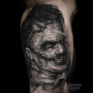 Realistic Black and Gray Leatherface Tattoo by Javier Antunez @Tattooedtheory #realistic #realism #Leatherface #Leatherfacetattoo #TexasChainsawMassacre #serialkiller #horror #thriller #darktattoos #TheTexasChainsawMassacre #JavierAntunez