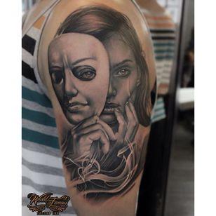 Black and grey tattoo by Sergey Shanko #SergeyShanko #realistic #photorealistic #portrait #blackandgrey #mask