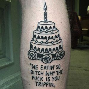 Birthday cake tattoo by Magic Rosa. #themagicrosa #MagicRosa #ignorant #linework #bold #witty #cake