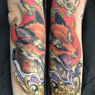 Tattoo by Wendy Pham #WendyPham #TaikoGallery #WenRamen #newtraditional #color #Japanese #mashup #fox #skull #chrysanthemum #kimono #pattern #floral #flower #animal