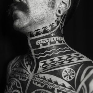 Tribal tattoos by Igor Kampman #IgorKampman #tribaltattoos #chestpiece #neckpiece #blackwork #linework #collar #geometric #pattern #shapes #blackfill #tribal #primitive #tattoooftheday
