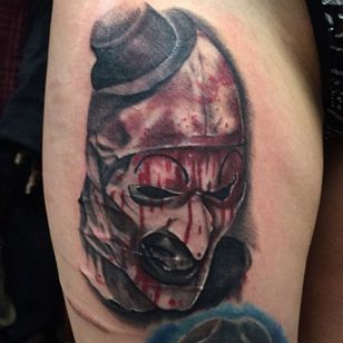 All Hallows Eve tattoo by Shane Murphy. #blackandred #realism #horror #AllHallowsEve #ShaneMurphy