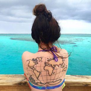 Fantastic back tattoo via @worldworthwandering via Instagram #fiji #travel #summer #epic #tattoo #map #maptattoo #girlswithtattoos #ink #blue #water #bikini #ocean #southpacific