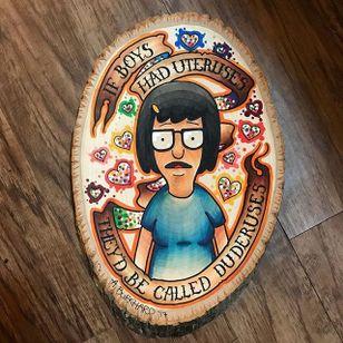Tina Belcher woodcut. (via IG—annie_tattoos) #AnnieBurkhardTattoos #Traditional #PopCulture #Cartoons #Sessions