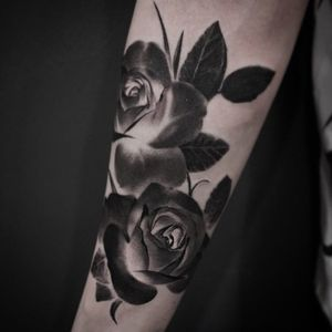 Negative rose tattoo by JeongHwi #JeongHwi #blackandgrey #realistic #negative #rose #flower #xrayrose