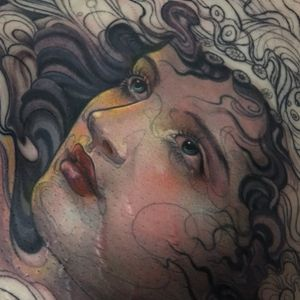 Goddess tattoo by Aimee Cornwell #AimeeCornwell #portraittattoos #color #neotraditional #lady #face #eyes #lips #pattern #floral #flowers #hair #goddess #fairy #tattoooftheday