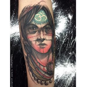 Tribal man tattoo by Felipe Rodriguez. #FelipeRodriguez #tribeman #tribe #portrait #sketch #neotraditional