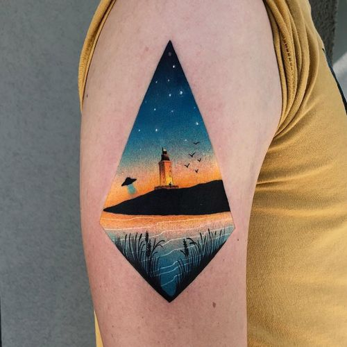 UFO and Lighthouse tattoo by Daria Stahp #DariaStahp #landscapetattoos #color #newtraditional #watercolor #realism #realistic #landscape #water #lighthouse #birds #sky #ufo #scifi
