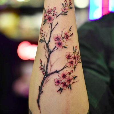 More cherry blossoms by Drag (via IG -- drag_ink) #drag #springtime #cherryblossom