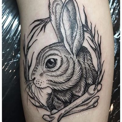 Hare by Leslie Karin (via IG-catxbone) #illustrative #blackink #mutedcolor #flora #fauna #magic #LeslieKarin
