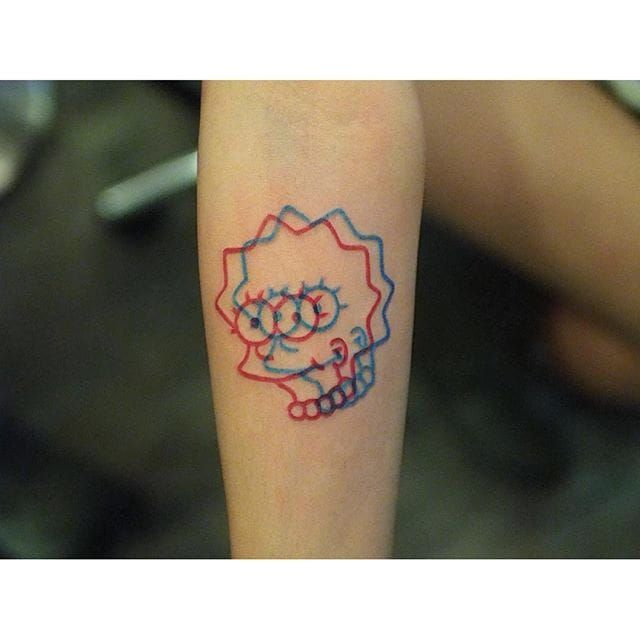 Lisa Simpson anaglyph tattoo by Marcus Yuen. #MarcusYuen #anaglyph #cartoon #3d #popculture #thesimpsons #lisasimpson