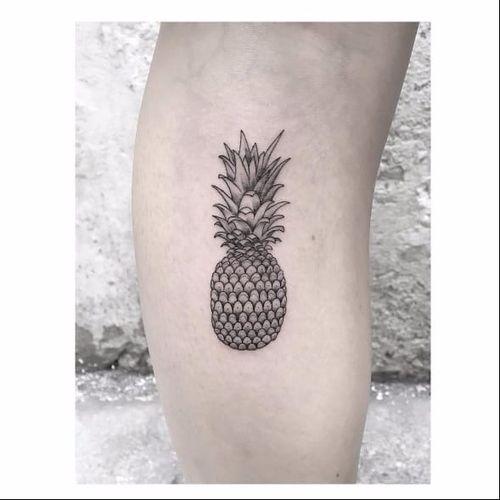 pineapple tattoo by Max Le Squatt #MaxLeSquatt #fineline #blackandgrey #pineapple