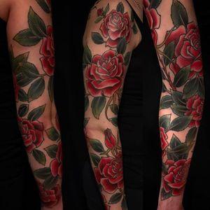 Rose Sleeve by Brad Fink (via IG-bradfink) #DaredevilTattoo #BradFink #traditional #irezumi