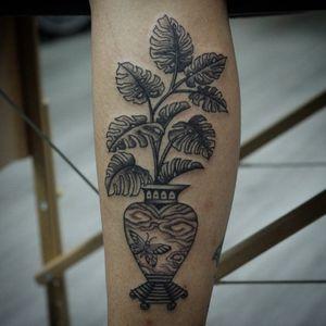 Swiss Cheese Plant tattoo by Franco Maldonado #FrancoMaldonado #planttattoos #blackandgrey #linework #pattern #swisscheeseplant #leaves #vase #clouds #butterfly #pattern #ornamental #nature #tattoooftheday