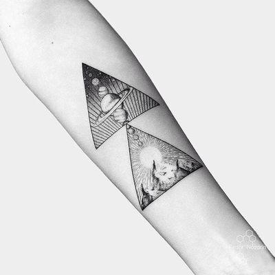 Geometric space tattoo by Fedor Nozdrin #FedorNozdrin #geometric #linework #dotwork #space #moon #sun #planet #mountain #tattoooftheday