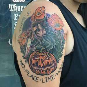 Michael Myers Tattoo by Patrick Bostic #michaelmyers #michaelmyerstattoo #halloween #halloweenatattoo #horror #horrortattoo #PatrickBostic