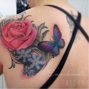 #flor #flower #butterfly borboleta #colorida #colorful #Taizane #TaizaneTatuadora #brasil #brazil #portugues #portuguese