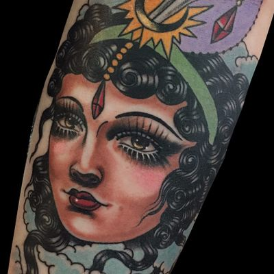 The Fortune Teller by Rose Hardy #RoseHardy #color #traditional #ladyhead #lady #jewel #moon #gems #hair #clouds #jewelry #portrait #tattoooftheday