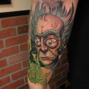Rick Sanchez tattoo by Taylor Heald #TaylorHeald #tvtattoos #color #newtraditional #realistic #realism #mashup #cartoon #rickandmorty #scifi #science #adultswim #electricity #lightning #portrait #RickSanchez #tattoooftheday