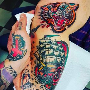 Beautiful galleon and tiger head tattoo by Eddie Czaicki. #eddieczaicki #galleon #tiger #traditionaltattoo #coloredtattoo