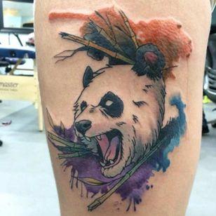 Fierce panda by Chad Dupraw (via IG -- whoiscid_tattoo) #chaddupraw #panda #bamboo