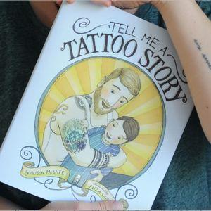 The cover of Tell Me a Tattoo Story. #AlisonMcGhee #childrensbooks #ElizaWheeler #TellMeaTattooStory