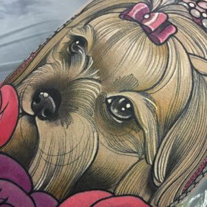 Close up of a Puppy. Tattoo by Charlotte Timmons @charlotte_eleanor88 #puppy #dog #detail #closeup #color #charlottetimmons #charlotte_eleanor88