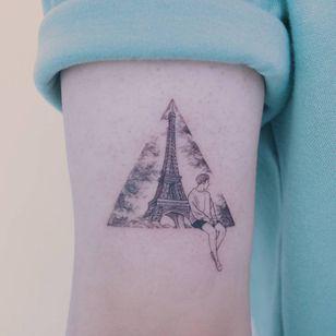 Eiffel Tower tattoo by Baam Kr #BaamKR #architecturetattoos #fineline #linework #illustrative #realistic #realism #small #portrait #person #EiffelTower #Paris #France #building #trees #tattoooftheday