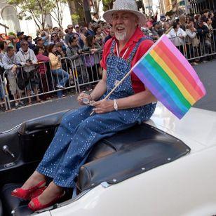 Gilbert Baker sitting pretty during the 2013 San Francisco Pride Parade. Photo by Daniel Nicoletta. (via IG—lgbt_history) #PrideTattoo #PrideFlag #LGBT #Equality #Rainbow #RainbowTattoo