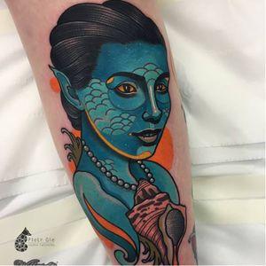 Mermaid tattoo by Piotr Gie #PiotrGie #graphic #mermaid #seashell #graphicmermaid #mermaidportrait
