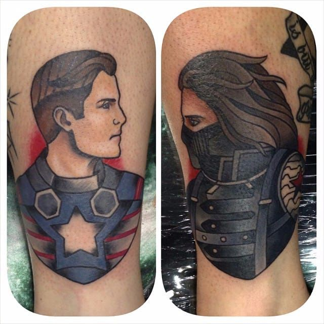 Winter Soldier and Captain American Tattoo by Larnie Ralien #wintersoldier #wintersoldiertattoo #captainamerica #marvel #marveltattoo #comicbooktattoo #LarnieRalien