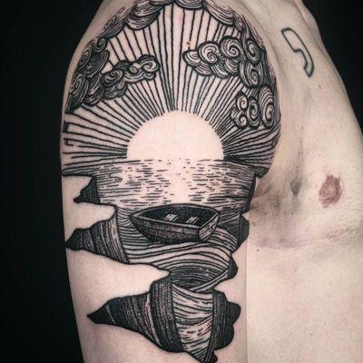 Tattoo by Noel'le Longhaul #NoelleLonghaul #linework #blackwork #dotwork #illustrative #nature #landscape #etching #water #river #ocean #boat #sun #light #clouds #cliffs #mountains