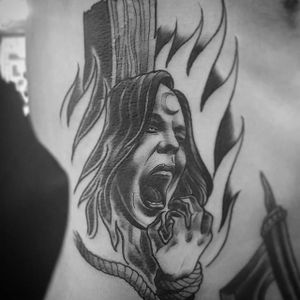 Burning Witch Tattoo by @uncle_trashcan #witch #witchtattoo #burningwitch #burningwitchtattoo #witchhunt #witchhunttattoo #horrortattoo #uncletrashcan