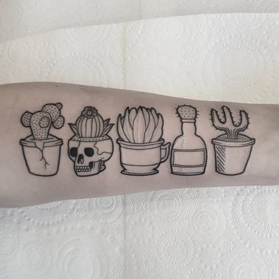 Potted succulents tattoo by Evils #Evils #besttattoos #linework #dotwork #minimal #cactus #flower #bottle #skull #succulent #pottedplant #plant #nature #leaves #death #life #tattoooftheday