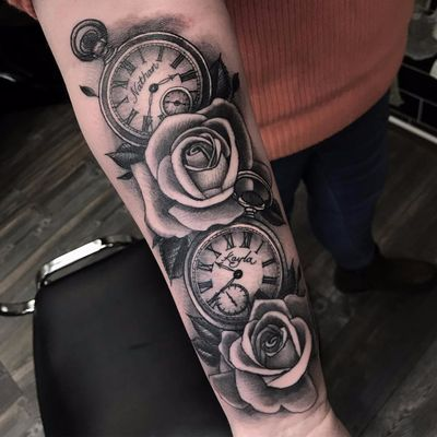 Roses and watches by Ross Nagle #RossNagle #blackandgrey #realism #realistic #roses #leaves #watches #stopwatch #text #names #script #time #nature #floral #tattoooftheday